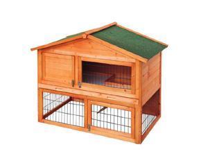 "Pawhut 48"" Deluxe 2-level Backyard Bunny Rabbit Hutch House"