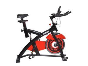 Soozier Pro Upright Stationary Exercise Cycling Bike w/ LCD Monitor - Red