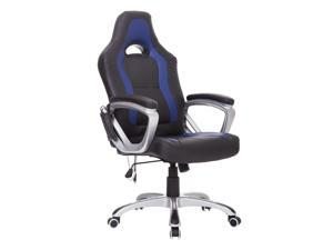 HomCom Race Car Style PU Leather Heated Massaging Office Chair - Black / Blue