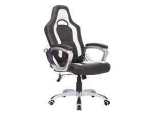 HomCom Race Car Style PU Leather Heated Massaging Office Chair - Black / White