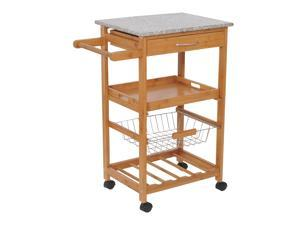 "HomCom 31"" Rolling Wooden Kitchen Trolley Cart with Wine Rack – Granite Top"