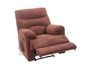 HomCom Heated Vibrating Suede Massage Recliner - Brown
