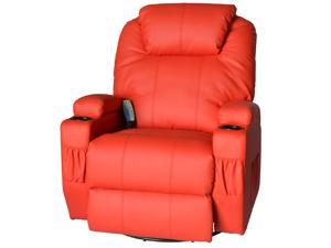 HomCom Deluxe Heated Vibrating PU Leather Massage Recliner Chair - Red