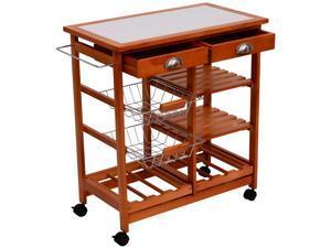 "HomCom 29"" Portable Rolling Tile Top Kitchen Trolley Cart w/ 6 Bottle Wine Rack"