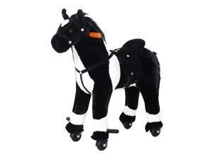 Qaba Kids Plush Ride On Walking Horse with Wheels – Black