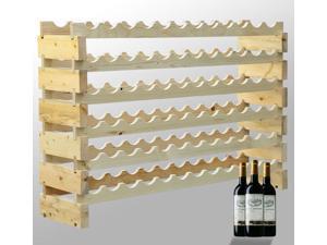 HomCom 72 Bottle Solid Wood Wine Storage Display Rack