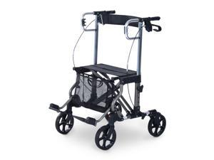 HomCom Four Wheel Folding Rollator Walker Transport Chair w/ Back Support - Black