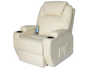 HomCom Deluxe Heated Vibrating PU Leather Massage Recliner Chair - Cream
