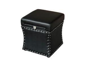 "HomCom 18"" Modern Storage Ottoman w/ Pull Out Table Drawer - Black"