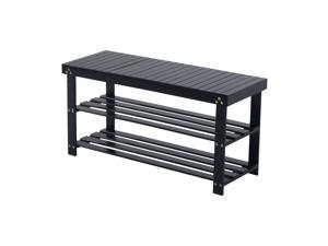 HomCom Bamboo Shoe Rack Bench - Black