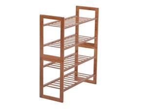 HomCom 4-Tier Bamboo Entryway Shoe Rack - Brown