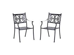 Outsunny Cast Aluminum Outdoor Dining Chair – Set of 2