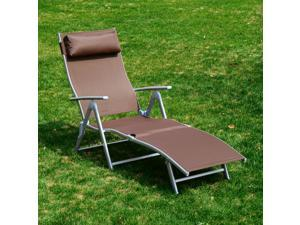 outsunny patio reclining chaise lounge chair with