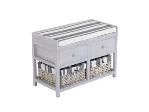 HomCom 2-Drawer 2-Basket Padded Cubby Bench - Gray/White/Black
