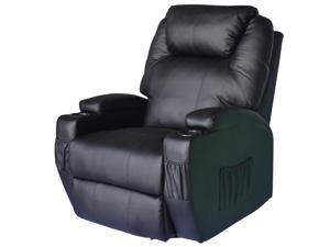 HomCom Massage Heated PU Leather 360 Degree Swivel Recliner Chair with Remote - Black