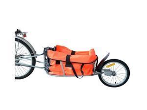 Aosom Solo Single-Wheel Bicycle Cargo Bike Trailer - Orange
