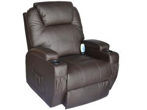 HomCom Therapeutic Heated Reclining Massage Chair - Brown