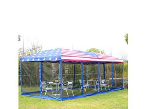 Outsunny 10' x 20' Pop-Up Canopy Shelter Party Tent with Mesh Walls - American Flag