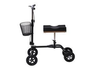 HomCom Steerable Knee Walker Scooter w/ Basket - Black