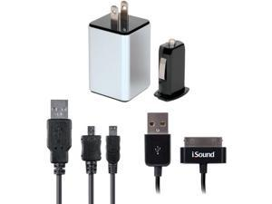 ISOUND ISOUND-2149 iPad(R)/iPhone(R)/iPod(R) & USB Device 2.1-Amp 4-in-1 Combo Charger Pack