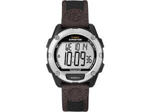 Timex Expedition Full Pusher CAT Digital Watch - Silver Dial/Brown Leather Strap