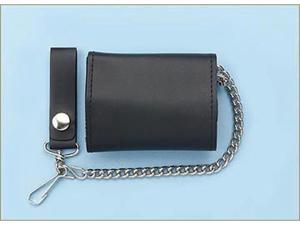 Plain Leather Trifold Wallet with Chain