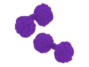 Solid Color Silk Knot Cufflinks - Purple
