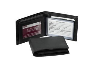 Black Leather Bi Fold Wallet