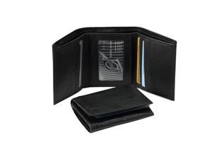 Black Leather Trifold Mens Wallet