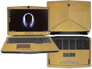 """Decalrus  - Alienware 17 (Released 2013) with 17"""" screen FULL BODY  GOLD Texture Carbon Fiber skin skins decal for case cover wrap CF13Alien17Gold"""