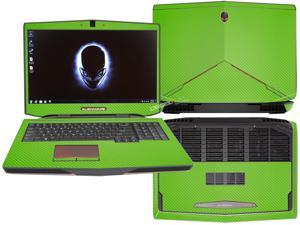 """Decalrus  - Alienware 17 (Released 2013) with 17"""" screen FULL BODY  GREEN Texture Carbon Fiber skin skins decal for case cover wrap CF13Alien17Green"""