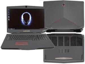 """Decalrus  - Alienware 17 (Released 2013) with 17"""" screen FULL BODY  GREYTexture Carbon Fiber skin skins decal for case cover wrap CF13Alien17Grey"""