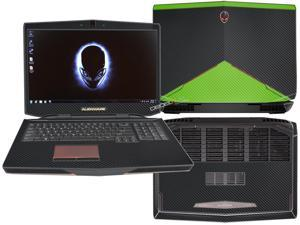 """Decalrus  - Alienware 17 (Released 2013) with 17"""" screen FULL BODY  BLACK & GREEN Texture Carbon Fiber skin skins decal for case cover wrap CF13Alien17BlackGreen"""