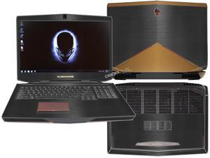 "Decalrus  - Alienware 17 (Released 2013) with 17"" screen FULL BODY  BLACK & GOLD Texture Brushed Aluminum skin skins decal for case cover wrap BA13Alien17BlackGold"