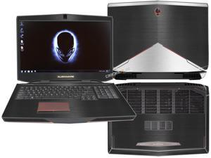 """Decalrus  - Alienware 17 (Released 2013) with 17"""" screen FULL BODY  BLACK & SILVER Texture Brushed Aluminum skin skins decal for case cover wrap BA13Alien17BlackSilver"""