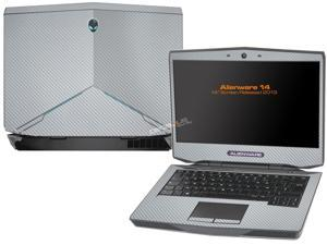 """Decalrus  - Alienware 14 (Released 2013) with 14"""" screen   SILVER Texture Carbon Fiber skin skins decal for case cover wrap CF13Alien14Silver"""