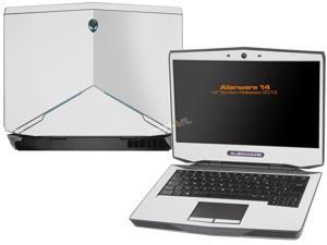 """Decalrus  - Alienware 14 (Released 2013) with 14"""" screen   WHITE Texture Carbon Fiber skin skins decal for case cover wrap CF13Alien14White"""