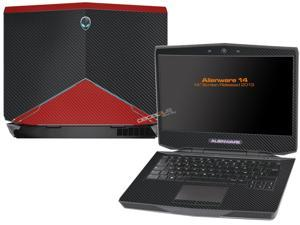 "Decalrus  - Alienware 14 (Released 2013) with 14"" screen   BLACK & RED Texture Carbon Fiber skin skins decal for case cover wrap CF13Alien14BlackRed"