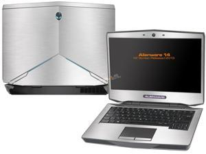 """Decalrus  - Alienware 14 (Released 2013) with 14"""" screen   SILVER Texture Brushed Aluminum skin skins decal for case cover wrap BA13Alien14Silver"""