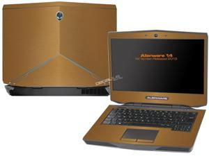 """Decalrus  - Alienware 14 (Released 2013) with 14"""" screen  GOLD Texture Brushed Aluminum skin skins decal for case cover wrap BA13Alien14Gold"""