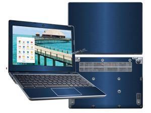 """Decalrus  - Acer C720 Chromebook with 11.6"""" Screen Full Body BLUE Texture Brushed Aluminum skin skins decal for case cover wrap BAacerFBdyC720Blue"""