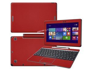 """Decalrus  - Asus Transformer Book T100 tablet with 10.1"""" Screen Full Body RED Texture Carbon Fiber skin skins decal for case cover wrap CFAsusT100fbodyRed"""