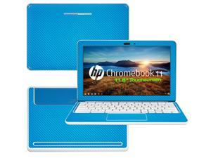 """Decalrus  - HP Chromebook 11 with 11.6"""" Screen Full Body Lite BLUE Texture Carbon Fiber skin skins decal for case cover wrap CFHPchmbook11LiteBlue"""