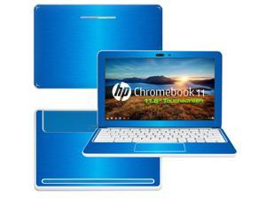 """Decalrus  - HP Chromebook 11 with 11.6"""" Screen Full Body LITE BLUE Texture Brushed Aluminum skin skins decal for case cover wrap BAHPchmbook11LiteBlue"""