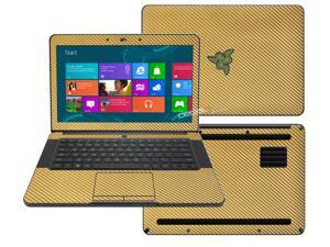 """Decalrus  - Razer Blade RZ09 14  with 14"""" screen Full Body  GOLD Texture Carbon Fiber skin skins decal for case cover wrap CFfbrzrblade14Gold"""