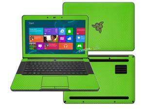 """Decalrus  - Razer Blade RZ09 14  with 14"""" screen Full Body  GREEN Texture Carbon Fiber skin skins decal for case cover wrap CFfbrzrblade14Green"""