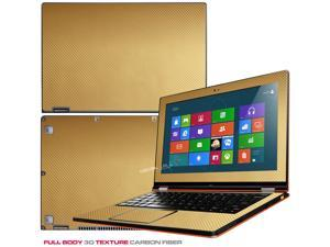 """Decalrus  - Lenovo Ideapad Yoga 13 (1st Generation)  with 13.3"""" screen Full Body GOLD Texture Carbon Fiber skin skins decal for case cover wrap CF13yoga13Gold"""