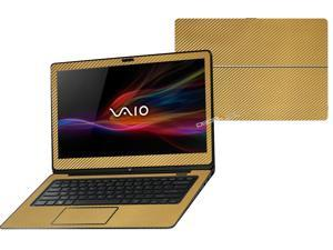 """Decalrus  - Sony Vaio Fit 14A Flip """"FLIP"""" with 14"""" TOUCHScreen screen Full Body GOLD Texture Carbon Fiber skin skins decal for case cover wrap CFVaioFlip14AGold"""