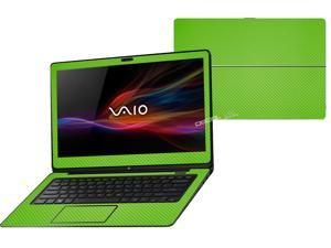 """Decalrus  - Sony Vaio Fit 14A Flip """"FLIP"""" with 14"""" TOUCHScreen screen Full Body GREEN Texture Carbon Fiber skin skins decal for case cover wrap CFVaioFlip14AGreen"""