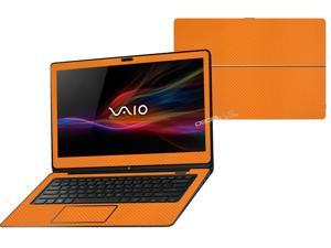 """Decalrus  - Sony Vaio Fit 14A Flip """"FLIP"""" with 14"""" TOUCHScreen screen Full Body ORANGE Texture Carbon Fiber skin skins decal for case cover wrap CFVaioFlip14AOrange"""